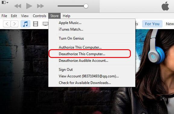 Rimuovi l'autorizzazione di un computer per iTunes