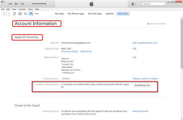 Rimuovi l'autorizzazione per tutti i computer per iTunes