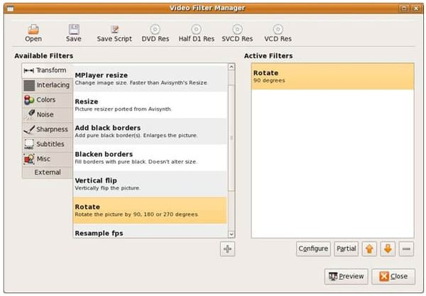 Avidemux Menedżer filtrów wideo