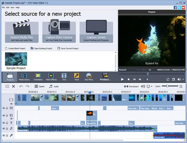 Interfaccia di AVS Video Editor