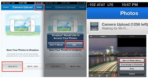 Esegui il backup delle foto di iPhone su Dropbox