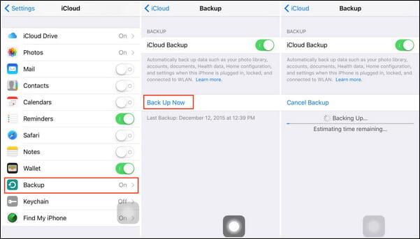 Note di backup su iCloud