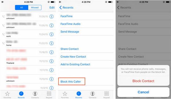 Αποκλεισμός πρόσφατων καλούντων iPhone
