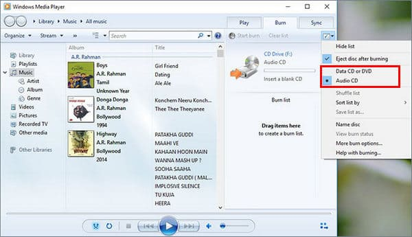 Masterizza CD audio con Windows Media Player