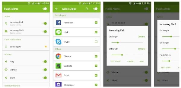 Avvisi Flash su chiamate e SMS