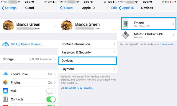 Modifica le impostazioni del dispositivo iCloud