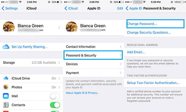 Cambia password iCloud