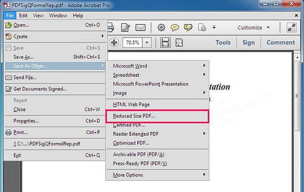 Comprimi PDF con Adobe Acrobat