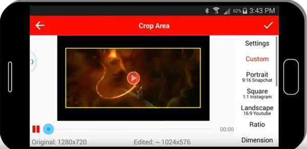 Ritaglia video su Android