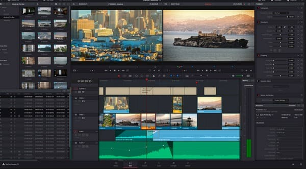 Davinci Resolve 15 Interfaccia principale