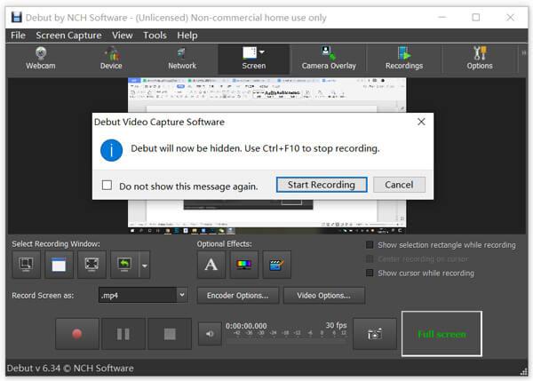 Ξεκινήστε την εγγραφή με το Debut Screen Recorder