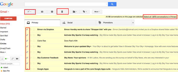 how to delete gmail messages