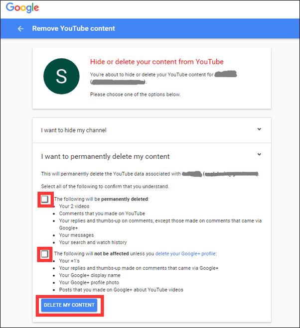 Διαγραφή περιεχομένου YouTube