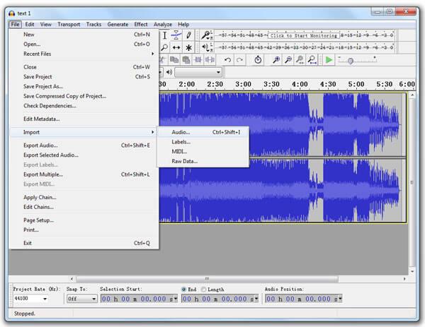 Importa file MP3
