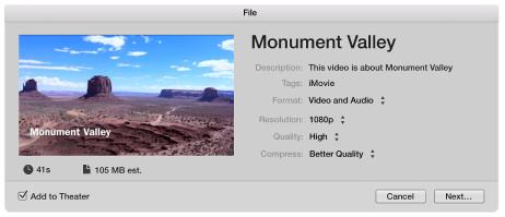 Esporta file iMovie
