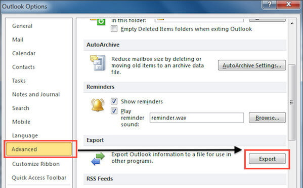 Choose Advanced and Export Outlook Contacts