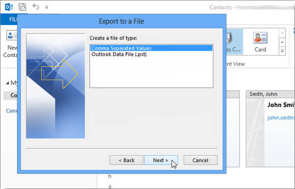 Create a File of Type Outlook 2013