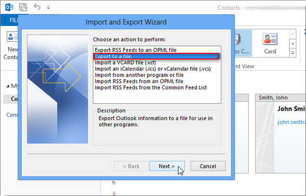 Export and Import Outlook 2010/2007 Contacts to Excel/Gmail