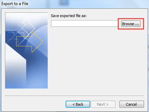Save Exported File from Outlook 2010 As