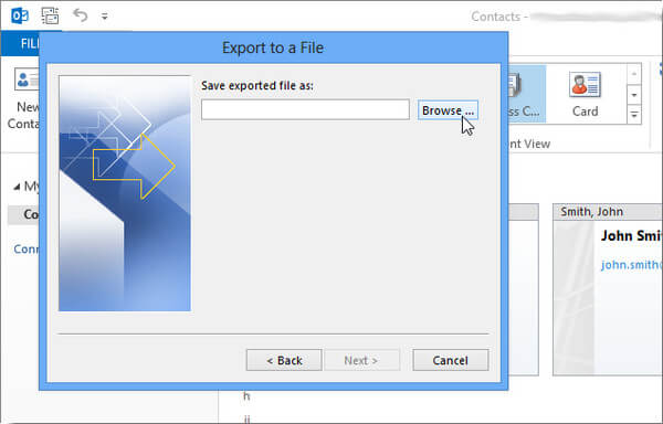 Select Exported File As