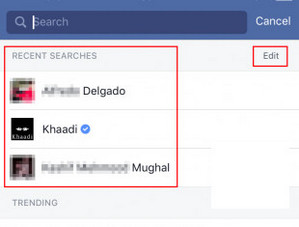 How to clear facebook search history best tips here step 3now you come to the activity log you can remove the history items separately or just tap on clear searches to delete them all in one click ccuart Images