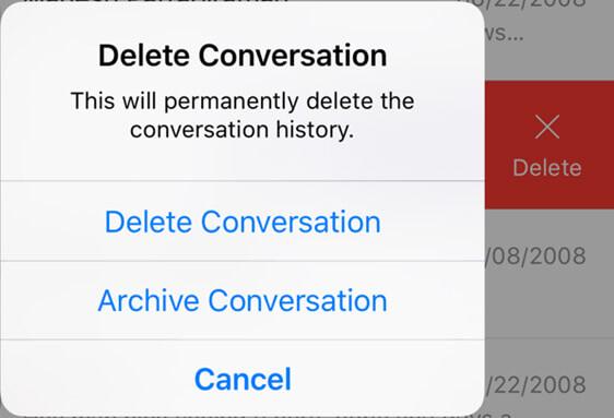 Elimina o archivia conversazione
