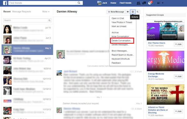 How to delete facebook messages how to delete facebook conversations from facebook homepage ccuart Choice Image