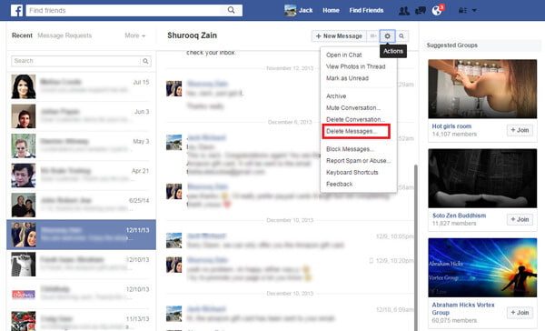 How to delete facebook messages how to delete facebook messages from facebook homepage ccuart Choice Image