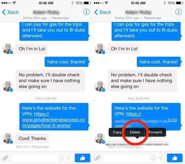 Come eliminare i messaggi di Facebook da iOS e Android