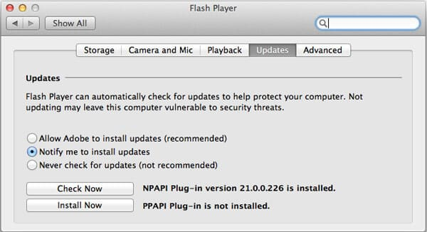 Aggiornamento di Adobe Flash Player su Mac