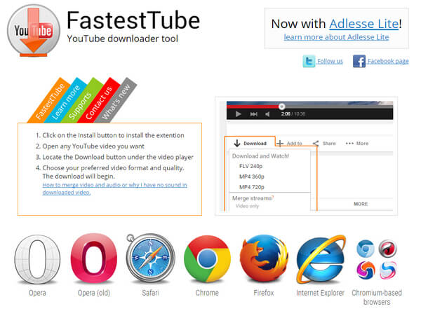FastestTube FLV Downloader per Chrome FireFox Safari