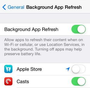 Wyłącz Tło App Odśwież
