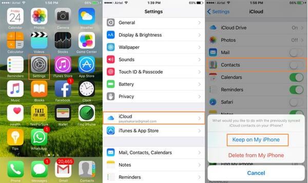 Ripristina i contatti su iPhone con iCloud
