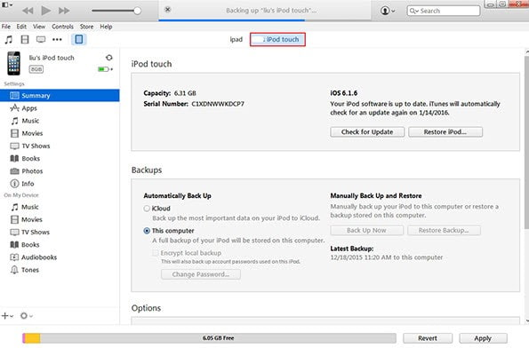 iTunes Reset iPod Sblocca iPod