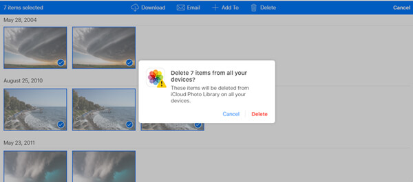 Delete Photos from iCloud Site
