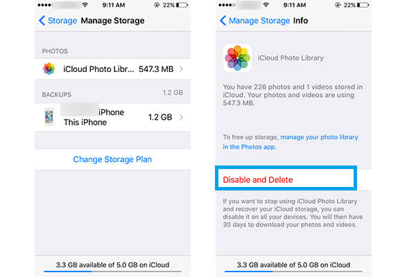 Disable iCloud Photo Library