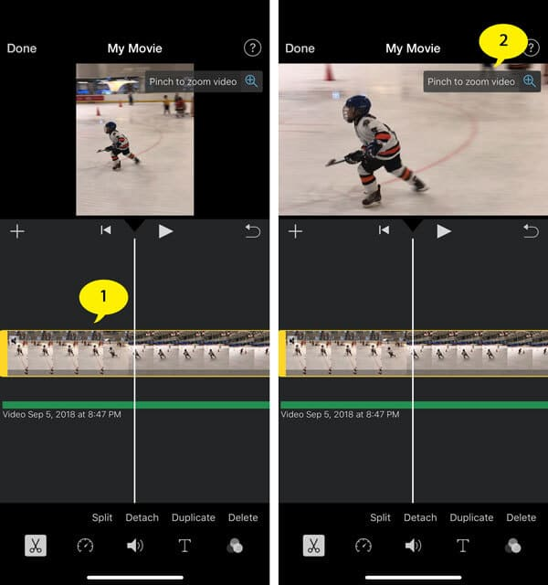 Modifica le proporzioni in iMovie su iPhone