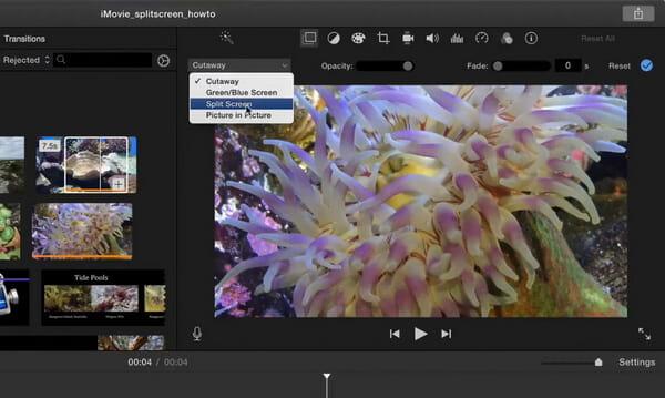 Διαχωρισμένη οθόνη στο iMovie