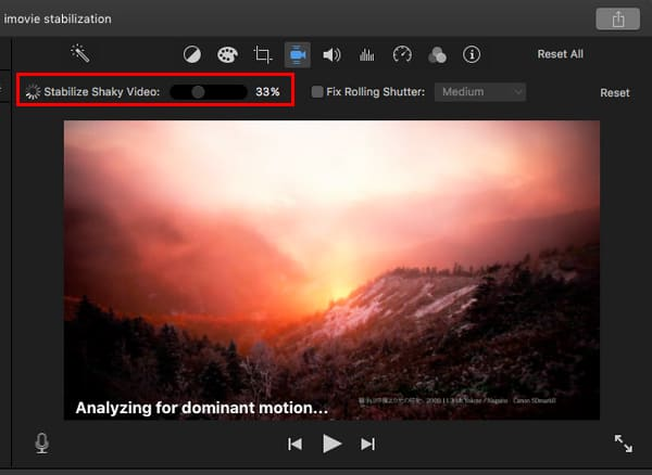 Click iMovie Stabilization