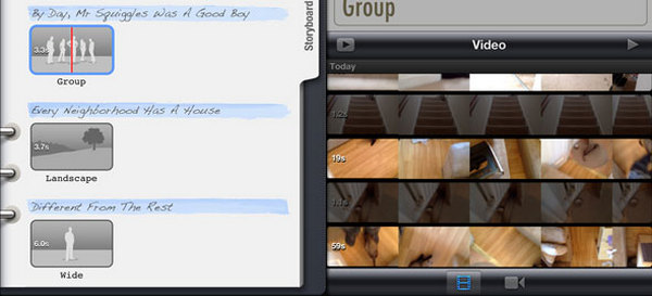 Aggiungi video su Storyboard iPad