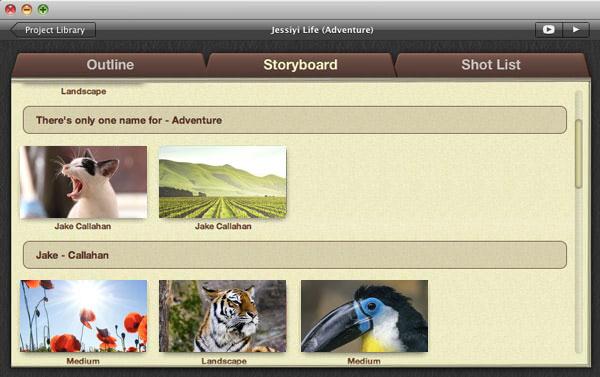 Storyboard del trailer di iMovie