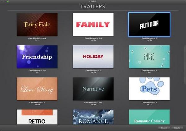 Modelli di trailer di iMovie