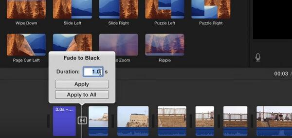 Regola le transizioni di iMovie
