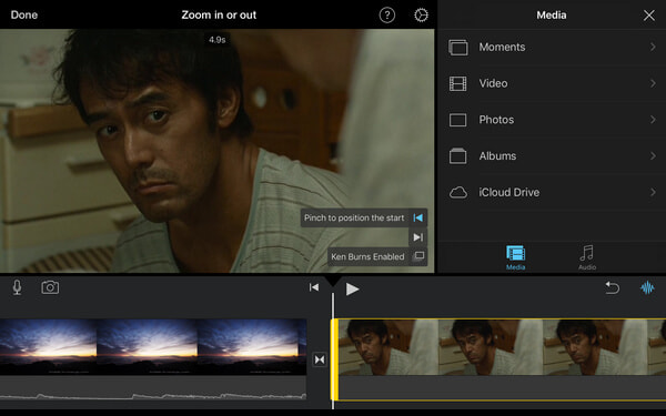 Effetto Ken Burns in iMovie iOS
