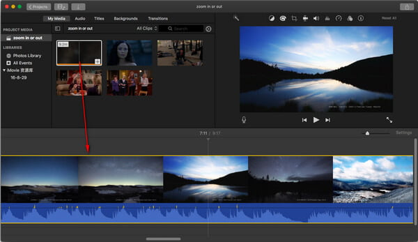 Carica clip video in iMovie