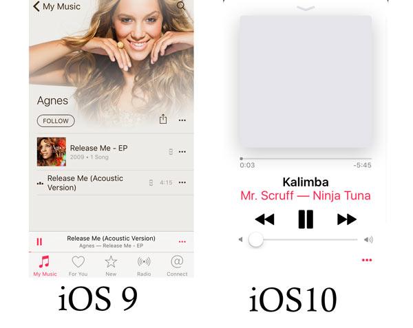 iOS 10 VS iOS 9 Musica