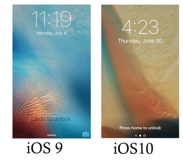 Schermata di sblocco iOS 10 VS iOS 9
