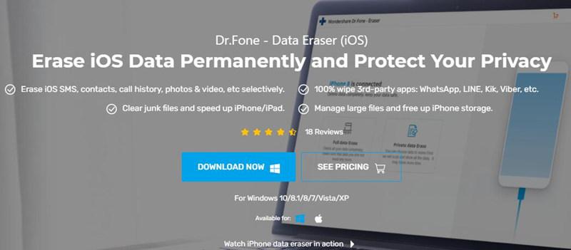 Εισαγωγή εφαρμογής Drfone iPad Cleaner