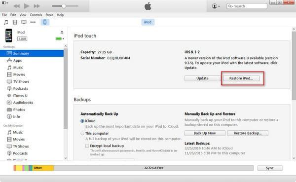 Ripristina l'iPod disabilitato con iTunes