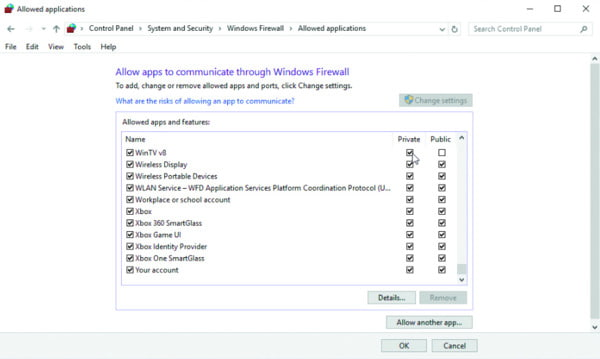 Consenti alle app di comunicare attraverso il firewall di Windows